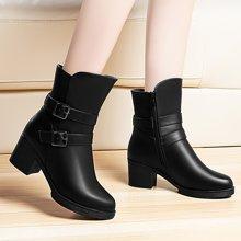百年纪念 短靴女粗跟马丁靴英伦高跟靴子加绒棉鞋防滑棉靴 bn/1337