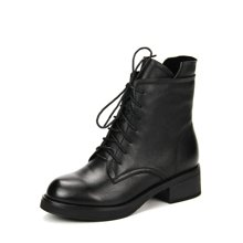 LESELE/莱思丽新款冬季牛皮女鞋 圆头中跟休闲靴绑带加绒短靴VSA81-LD0433