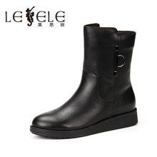 LESELE/萊思麗新款冬季牛皮女鞋 圓頭金屬扣飾靴加絨短靴女KE61-LD0822