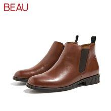 BEAU秋冬切尔西短靴女平底马丁靴及踝靴学院风女鞋粗跟单靴女03066