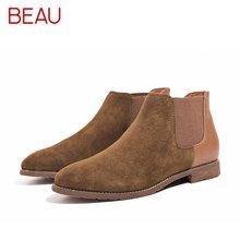 BEAU秋冬新款切尔西短靴女粗跟马丁靴女平底及踝靴短筒皮靴子03112