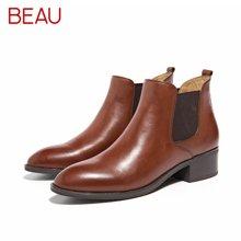 BEAU秋冬切尔西短靴女粗跟尖头马丁靴女平底及踝靴短筒皮靴子03239