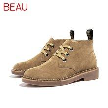 BEAU秋冬系带马丁靴女切尔西短靴英伦风靴子及踝靴粗跟女单靴04018