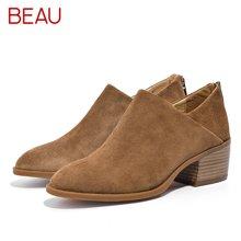 BEAU秋冬踝靴平底马丁靴女英伦风女鞋切尔西靴中跟低帮短靴子03315