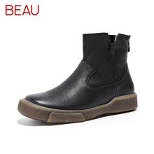 BEAU秋季新款短靴女厚底切尔西靴女粗跟马丁靴女舒适粗跟女靴05009