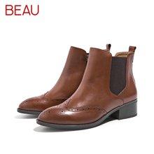 BEAU秋季切尔短靴女粗跟雕花马丁靴尖头英伦风平底及踝靴女靴03241