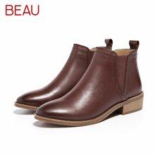 BEAU秋冬切尔西短靴女粗跟方头马丁靴女平底及踝靴短筒皮靴子03237