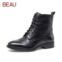 BEAU布洛克短靴女秋冬雕花系带马丁靴女粗跟靴子女高帮骑士女靴03039