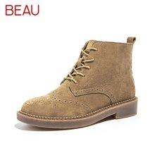 BEAU秋冬布洛克马丁靴女切尔西短靴英伦风靴子及踝靴粗跟单靴04017