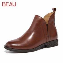 BEAU秋冬切尔西短靴女平底马丁靴复古女鞋及踝靴小粗跟女靴子03065