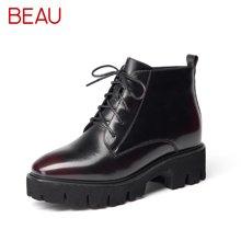 Beau 秋新品切尔西靴圆头平跟马丁靴厚底松糕裸靴女欧美短靴05311