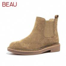 BEAU秋冬切尔西短靴女平底马丁靴英伦风靴子及踝靴粗跟女单靴04016