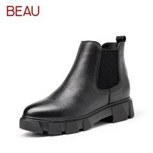 BEAU切尔西短靴女松糕厚底裸靴女马丁靴女英伦风单靴短筒女靴05308