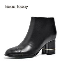 BeauToday短靴女英倫風粗跟秋冬女鞋高跟鞋新款粗跟休閑女鞋03311