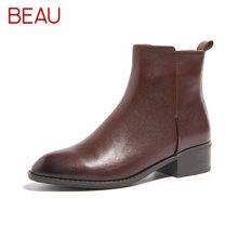 BEAU新款春秋切尔西短靴女平底马丁靴女英伦风及踝靴粗跟女靴03230