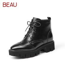 BEAU秋冬系带马丁靴女低帮布洛克短靴女英伦风靴子及踝靴女靴子05312