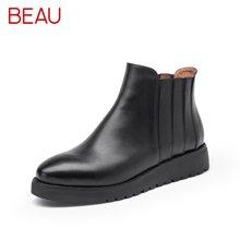 BEAU马丁靴女英伦风短靴女切尔西靴平底加绒靴子厚底女鞋冬05006