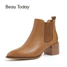 BT新款秋冬季切尔西短靴女平底皮英伦风女鞋马丁靴粗跟女靴子03313