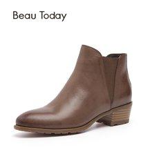 BT秋冬季切尔西短靴女粗跟英伦风女鞋大码女靴子及踝靴马丁靴03214