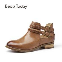 BeauToday 皮带扣平跟裸靴女复古风时尚打蜡切尔西靴女圆头短靴女03036
