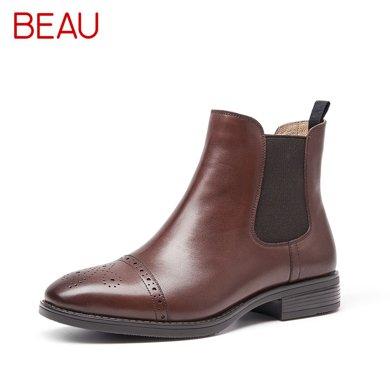 BEAU短靴女春秋單靴切爾西靴女粗跟馬丁靴英倫風短筒靴及踝靴03040