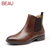 BEAU靴子秋冬女切尔西靴加绒短靴女粗跟英伦风马丁靴女靴裸靴平跟03025