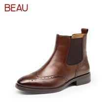BEAU女靴春秋单靴切尔西短靴女平底裸靴马丁靴女英伦风靴子03026