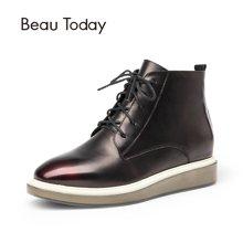 BeauToday布洛克马丁靴女英伦风短靴系带女鞋秋冬及踝靴厚底单鞋05307