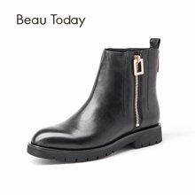 BT 短靴女及踝靴方头平跟切尔西靴女胎牛皮马丁靴女英伦风03029