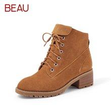BEAU 秋冬女鞋复古马丁靴女短筒靴子女高帮系带磨砂短靴粗跟06041