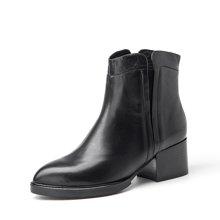 BeauToday 靴子女秋冬牛皮切尔西短靴女中跟马丁靴粗跟女靴03202