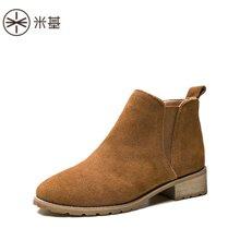 米基女靴秋冬单靴磨砂切尔西靴短女粗跟马丁靴英伦及踝靴子裸靴女NX-65