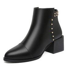莫蕾蔻蕾秋冬新款马丁靴女圆头粗跟珍珠侧拉链高跟短筒女 15527