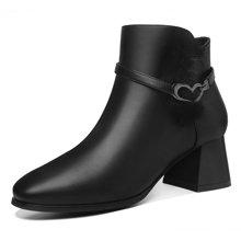 莫蕾蔻蕾冬季新款靴子高档pu短靴女士高跟鞋7008