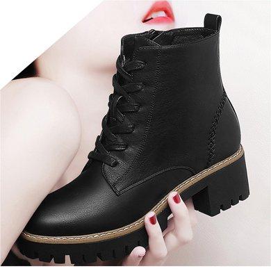 百年纪念新款秋冬圆头侧拉链女靴方跟时尚系带女短靴防水台女鞋子bn155901