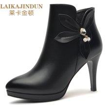 莱卡金顿 秋冬季尖头短靴新款高跟鞋性感细跟尖头女靴子马丁靴裸靴 LK/6173