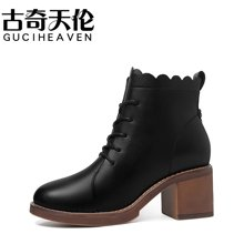 古奇天伦 秋季新品马丁靴侧拉链系带圆头短靴百搭粗跟女靴子 TL/8780