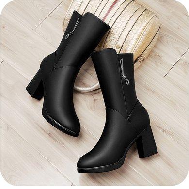 百年紀念秋冬新款圓頭側拉鏈女靴方跟純色中筒靴防水臺女鞋子bn150501