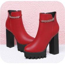 百年纪念新款秋冬圆头粗跟女靴侧拉链水钻短靴防水台女鞋子bn1549