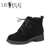 LESELE/莱思丽冬季新款女靴子 圆头粗跟短靴绑带中跟羊绒马丁靴HAE71-LD1607