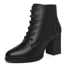 莫蕾蔻蕾秋冬新款高跟粗跟圆头短靴女欧美加绒女靴子 36527