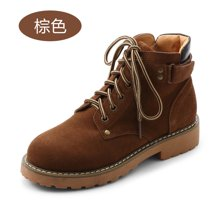 honeyGIRL秋冬款女鞋加绒女靴系带马丁靴圆头平跟短靴HG17WI08-XT400