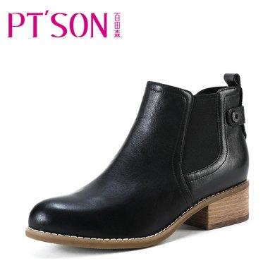 百田森 PYQ78208 冬季切爾西短靴女真皮粗跟中跟英倫復古靴子