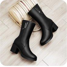 百年纪念新款女靴圆头女靴侧拉链女靴方跟女靴纯色女靴中筒靴防水台女鞋子bn150601