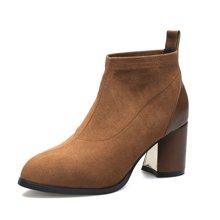 米基尖头短靴女秋冬季百搭粗跟马丁靴时尚高跟裸靴及踝靴NX-89
