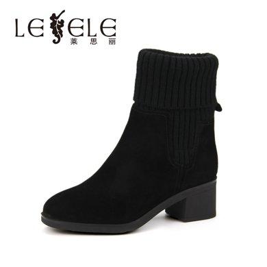 LESELE/莱思丽冬季新款黑色女靴子 羊猄高跟毛线靴粗跟中筒靴女KE71-LD1764