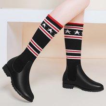 百年纪念新款秋冬靴子圆头平跟长靴套筒过膝女靴防水台女鞋子bn1565