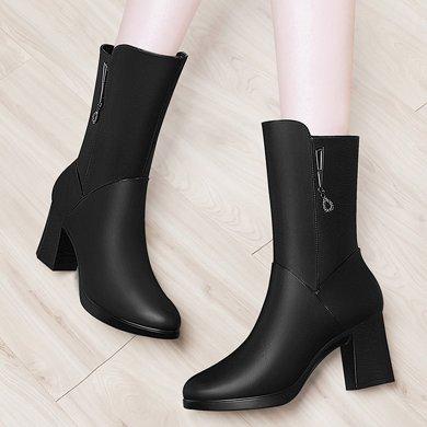 百年紀念新款圓頭側拉鏈女靴方跟純色中筒靴防水臺女鞋子bn1505