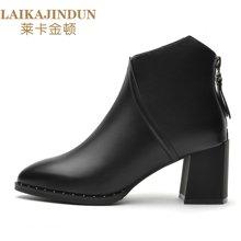 莱卡金顿 尖头方跟女靴 后拉链休闲短靴 防水台女鞋子 LK6360