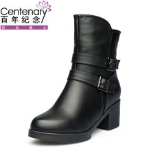 百年紀念新款短靴平底舒適防滑百搭圓頭側拉鏈女靴粗跟金屬扣帶女短靴+防水臺女鞋子bn/133701